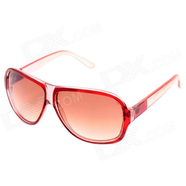 SENLAN 1166 Fashion Retro UV400 Protection Sunglasses - Transparent Wine Red fashion uv400 protection round shape resin lens sunglasses wine red