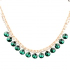 Copper Aluminum Alloy + Rhinestones Pendant Necklace for Women - Golden + Green