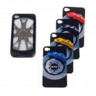 Car Wheel Style Silicone Protective Case for Iphone 4/4S - Black + Silver