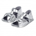Cute Bowknot Baby Sandals - Silver (Pair / 6-9 Months)