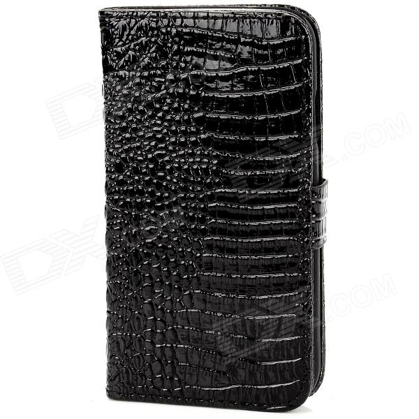 Protective Alligator Skin PU Leather Flip Open Stand Case for Samsung Galaxy S4 / i9500 - Black