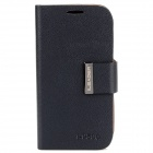 Protective PU Leather Flip Open Case for Samsung i9500 - Black