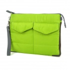 Multi-pouch Protective Padded Bag w/ Zipper Close for Ipad / Netbook / Cellphone + More - Green