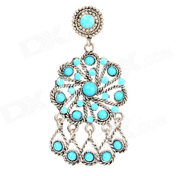 Hollow Out Water Drops Style Earring voor vrouwen - Blue