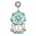 Hollow Out Water Drops Style Earring for Women - Blue