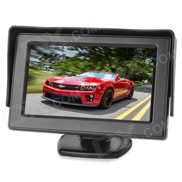 "4.3 ""LCD de 2,4 GHz Wireless retrovisor del coche monitor Cámara Set w / parasol / 7-IR LED - Negro"