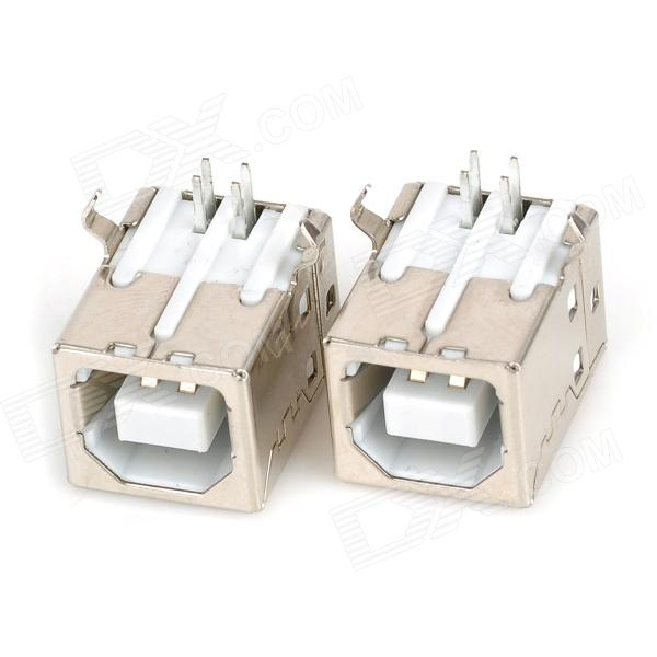 DIY USB Type-B 4-Pin Female 90 Degree DIP Socket Connectors - Silver + White (2 PCS) diy usb a 4 pin female connector socket silver 20 piece pack