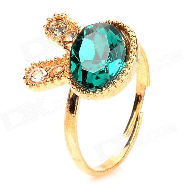 Cute Rabbit Shape Stone Finger Ring for Women - Golden