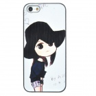 ENK-6001A Cute Sun Hat Girl Pattern Protective Plastic Back Case for Iphone 5 - White + Black