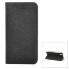 AOEJ Ultra-thin Flexible Back Case w/ Grain Pattern PU Leather Cover for Iphone 4S / 4 - Black