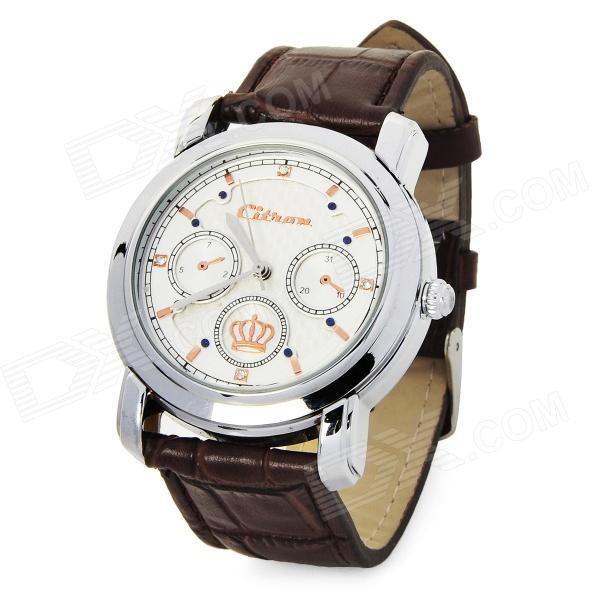 H1031 Casual Leather Band Round Dial Quartz Wrist Watch for Men - Brown + White (1 x SR626W )