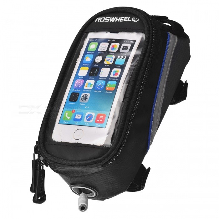 ROSWHEEL Bike Bicycle 4.2 Touch Screen Phone Bag w/ 3.5mm Earphone Jack - Black + Blue (1L)