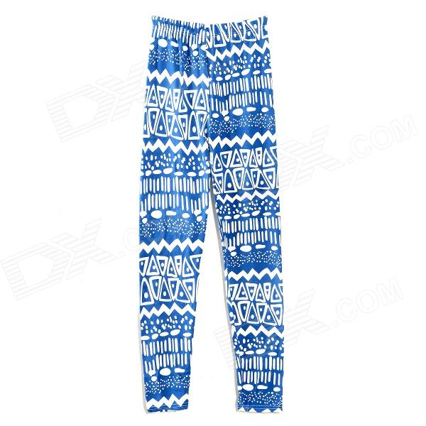 HQS-G101719 Women's Fashion Geometric Pattern Ninth Pants Legging - Blue + White