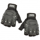 Stylish Rivets Studded Half Finger Anti-Slip Gloves - Black (Size-L / Pair)