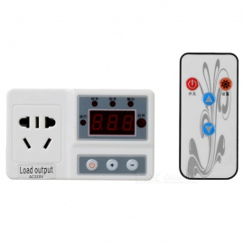 "SJF-628 1.4"" LCD Smart Digital Temperature Controller w/ Remote Control - White + Black (-10~120'C)"