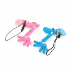 Xinghui Cute Giraffe Phone Strap w/ Anti-dust Plug for Couple (1 Pair) - Blue + Pink