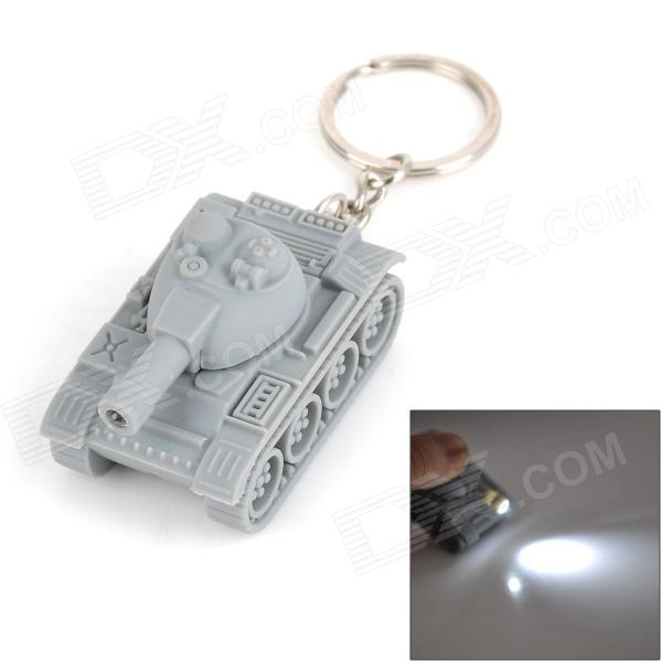 Tank Style LED White Light Keychain w/ Sound - Grey (3 x AG10) cute hippo style plastic key chain w led white light green 3 x ag10