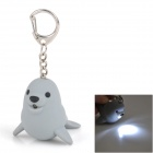 Seal Style LED White Light Keychain w/ Sound - Grey (3 x AG10)