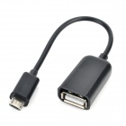 Micro USB Male to USB Female OTG Data Cable for Samsung Galaxy S4 / i9500 / i9505 - Black (14cm)