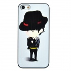 ENK-6001A Fedora Boy Pattern Protective Plastic Back Case for Iphone 5 - White + Black