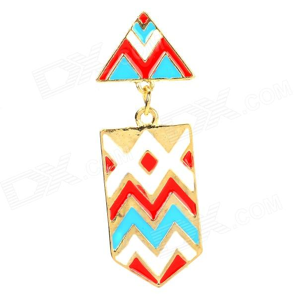 Fashion National Style Triangle Shape Earring for Women - Multicolored vintage style twig shape flower embellished women s earring