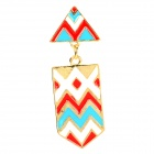 Fashion National Style Triangle Shape Earring for Women - Multicolored