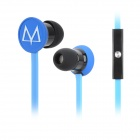 MAYA E17 In-Ear Flat Cable Earphones w/ Microphone / Clip - Blue + Black (3.5mm Plug / 140cm-Cable)