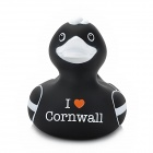 Funny I Love Cornwall Floating Duck Bath Toy for Baby - Black + White