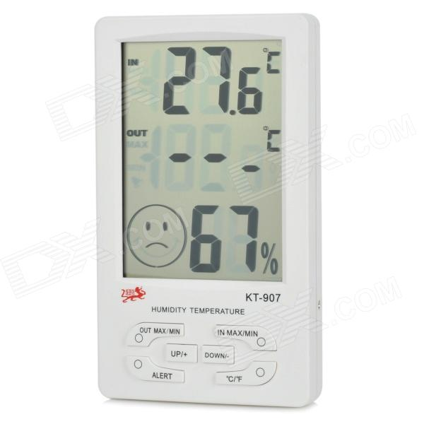 KT-907 Digital Thermometer & Hygrometer w/ 4.45 LCD Display Screen & Sensor Cable + White (1 x AAA) wireless 3 7 lcd digital thermometer humidity meter with remote sensor 3 x aaa 2 x aaa