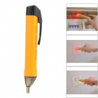 JIA-XIN-VD03 50-1000V Voltage Alarm Tester Pen w/ LED Indicator - Orange + Black (2 x AAA)