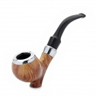 Fashion Cigar Tobacco Smoking Pipe - Black + Brown + Silver