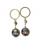 Retro Big Skull Pattern Couple's Keychain Set - Bronze (2 PCS)