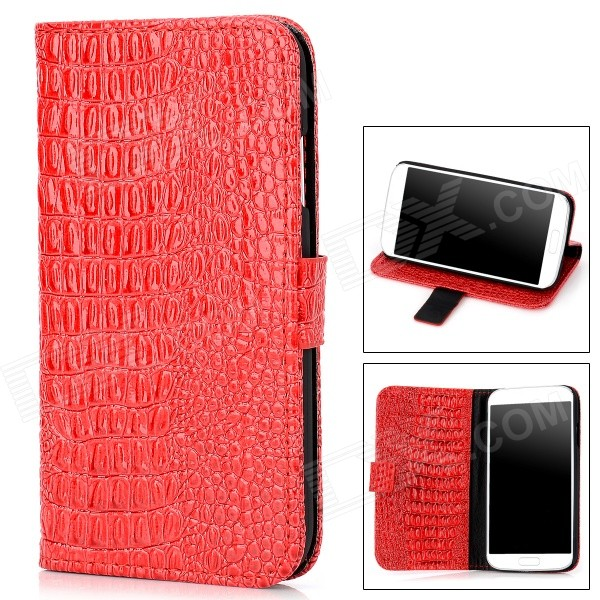 Protective Alligator Grain PU Leather Case w/ Card Slot for Samsung Galaxy S4 / i9500 - Red + Black cloth style protective pu leather cover plastic back case stand for samsung galaxy s4 i9500 black