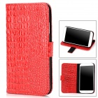 Protective Alligator Grain PU Leather Case w/ Card Slot for Samsung Galaxy S4 / i9500 - Red + Black