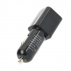 Compact Dual USB Plastic Car Charger for Iphone / Ipod / Ipad + More - Black