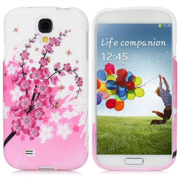 Protective Plum Blossom Pattern Back Case for Samsung Galaxy S4 i9500 - Pink + White protective cute spots pattern back case for samsung galaxy s4 i9500 multicolored