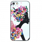 ENK-6001A Stylish Flower Lady Pattern Protective Plastic Back Case for Iphone 5 - White + Black