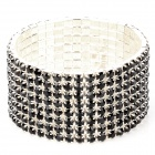 ZX-0318 Stylish Crystal Titanium Alloy Bracelet - Black