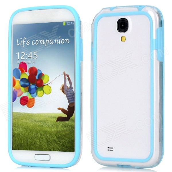 Protective Bumper Frame for Samsung Galaxy S4 i9500 - Light Blue + Transparent protective tpu pc bumper frame for samsung galaxy s5 mini green