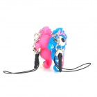 Xinghui Cute Sea Horse Charm Strap w/ Anti-dust Plug for iPhone / Cellphone - Pink + Blue ( 2 PCS)