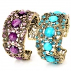 ZX-0338 Fashion Bohemia Hollow Out Style w/ Crystal Bracelet - Purple + Blue + Bronze (2PCS)