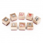 English Students Wood Stamp Signet Set - Red / Yellow / Blue / Pink (4 PCS)