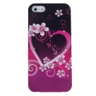 Rhinestone Butterfly Pattern Protective PVC Back Case for Iphone 5 - Black + Deep Pink