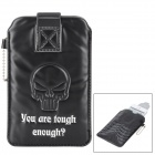 Protective Cool Skull Pattern PU Leather Pouch Bag for Iphone - Black