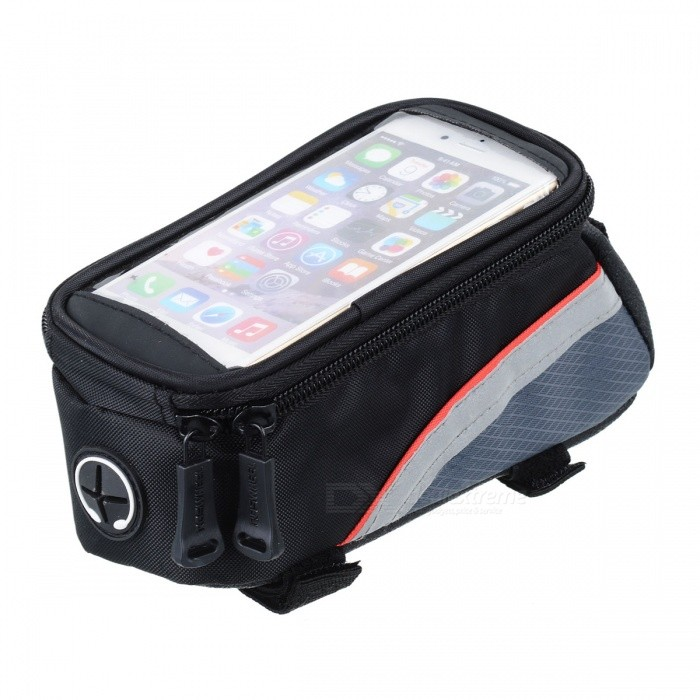 ROSWHEEL 12496S-C5 Bike Bicycle 4.2 Touch Screen Phone Bag w/ 3.5mm Earphone Hole - Black + Red