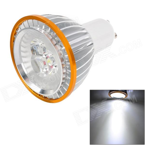 GU10 3W 90lm 5790K 3-LED White Spotlight - Silver + Golden + White - DXGU10<br>Material Aluminum casted Color Silver + golden + white Quantity 1 Emitter Type EPILEDS LED Total Emitters 3 Power 3 W Color BIN White Rate Voltage 220 V Luminous Flux 90 lm Chip Working Voltage 3.1~3.3V Color Temperature 5500~5790 K Wavelength No nm Connector Type GU10 Application Auxiliary light source / spot lights window exhibits cast lighting Packing List 1 x Spotlight<br>