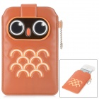 Protective Cute Owl Pattern PU Leather Pouch Bag for Iphone - Brown