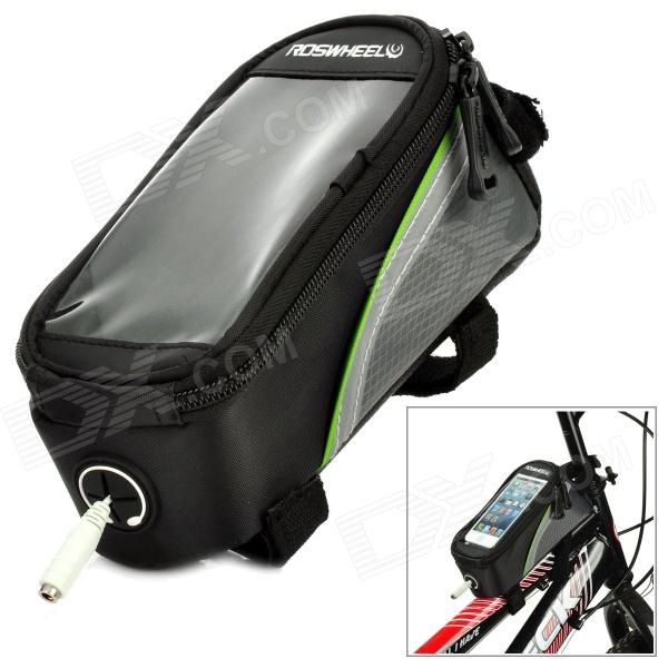 ROSWHEEL 12496S-B5 4.2 Bicycle Bike Bag w/ Earphone Jack for Cell Phone - Black + Green