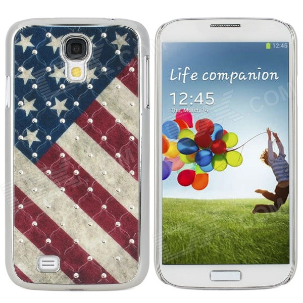 Protective USA Flag Pattern Back Case w/ Crystal for Samsung Galaxy S4 i9500 - Multicolored protective cute spots pattern back case for samsung galaxy s4 i9500 multicolored