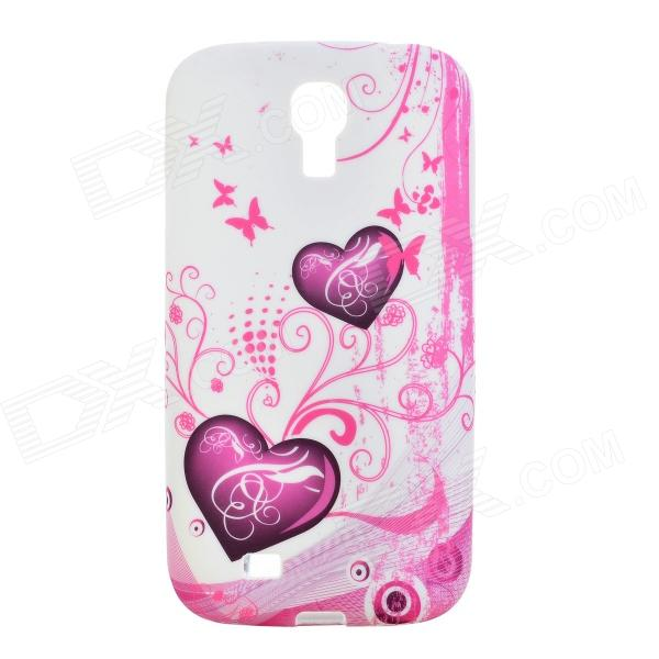 Protective Heart Pattern Back Case for Samsung Galaxy S4 i9500 - Pink + White protective cute spots pattern back case for samsung galaxy s4 i9500 multicolored